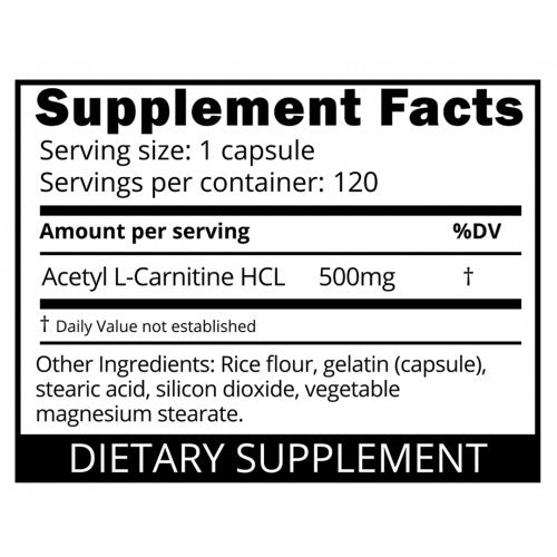 Nutrition Facts For Eat Me Acetyl L-Carnitine (500mg) 120 Caps