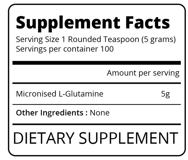 Nutrition Facts For Eat Me Glutamine 500g