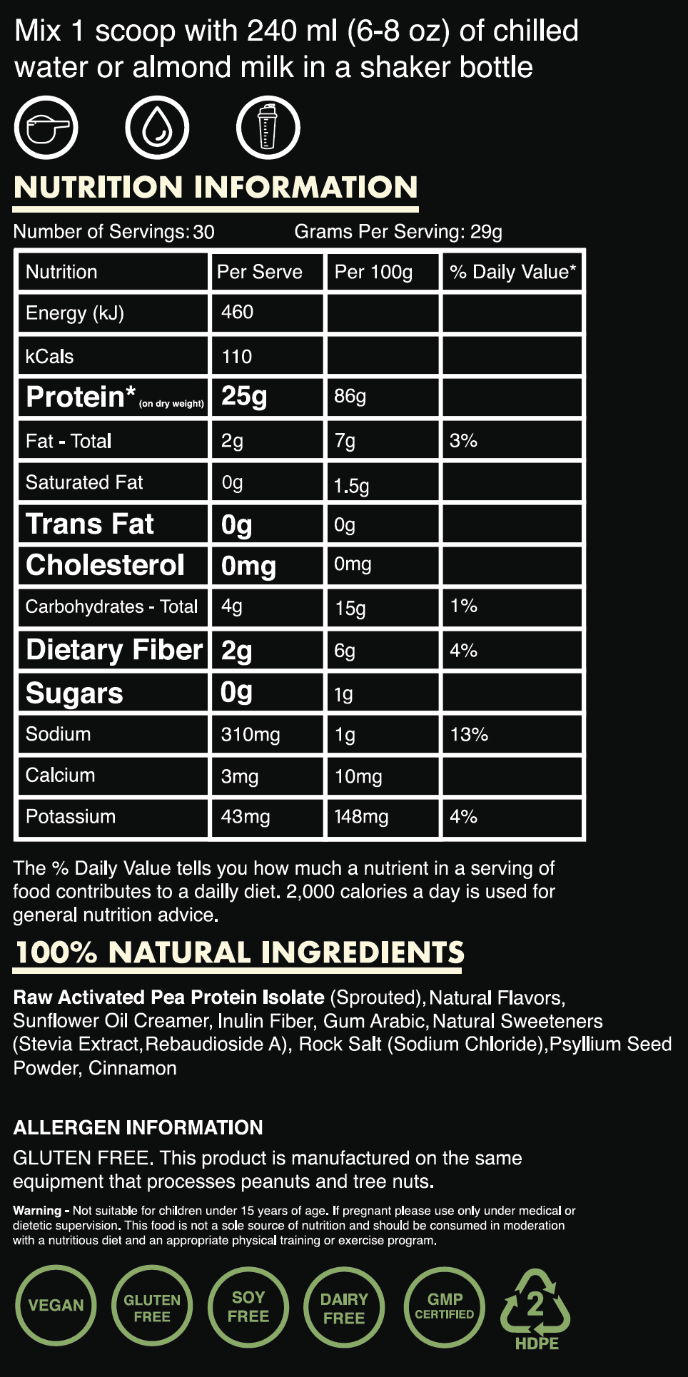Nutrition Facts For EHP Labs Blessed Plant Protein 2lb