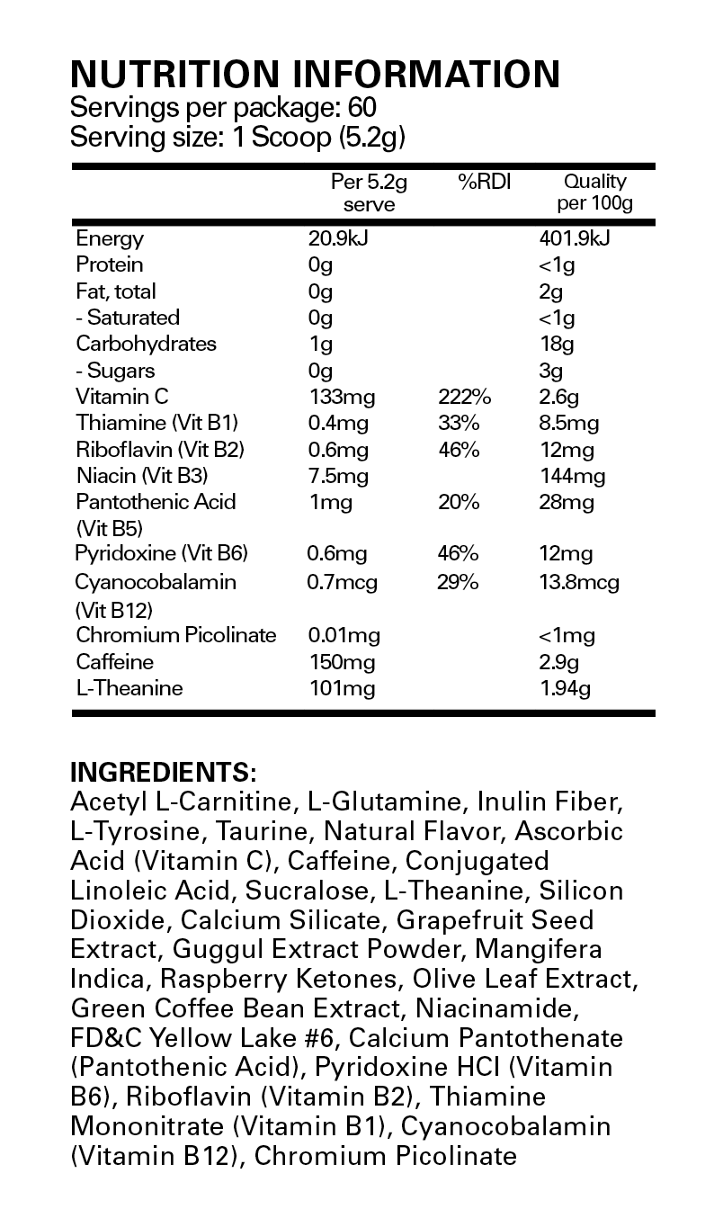 Nutrition Facts For EHP Labs 2x Oxyshred Combo