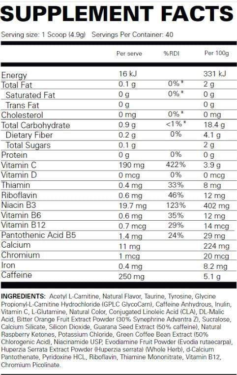 Nutrition Facts For EHP Labs Oxyshred Hardcore
