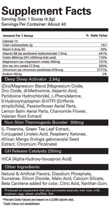 Nutrition Facts For EHP Labs OxySleep Thermogenic Fat burner
