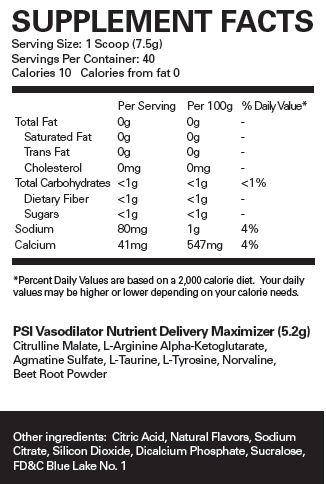 Nutrition Facts For EHP Labs PSI Pre Workout
