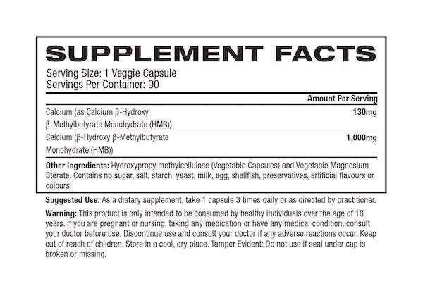 Nutrition Facts For Gaspari HMB 90 caps