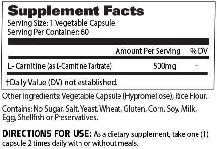 Nutrition Facts For GAT Carnitine 60 Caps