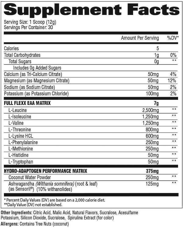 Nutrition Facts For GAT Flexx EAAs 30 Serve