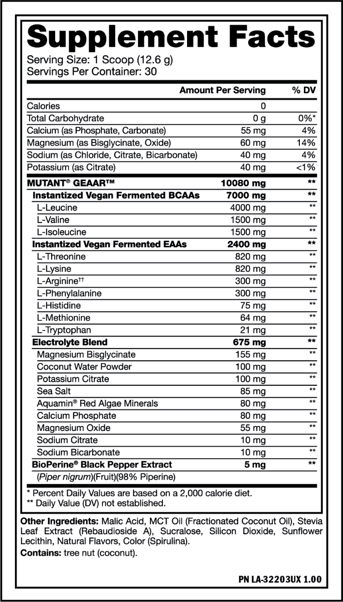 Nutrition Facts For Mutant GEAAR BCAA + EAA 30 Serve