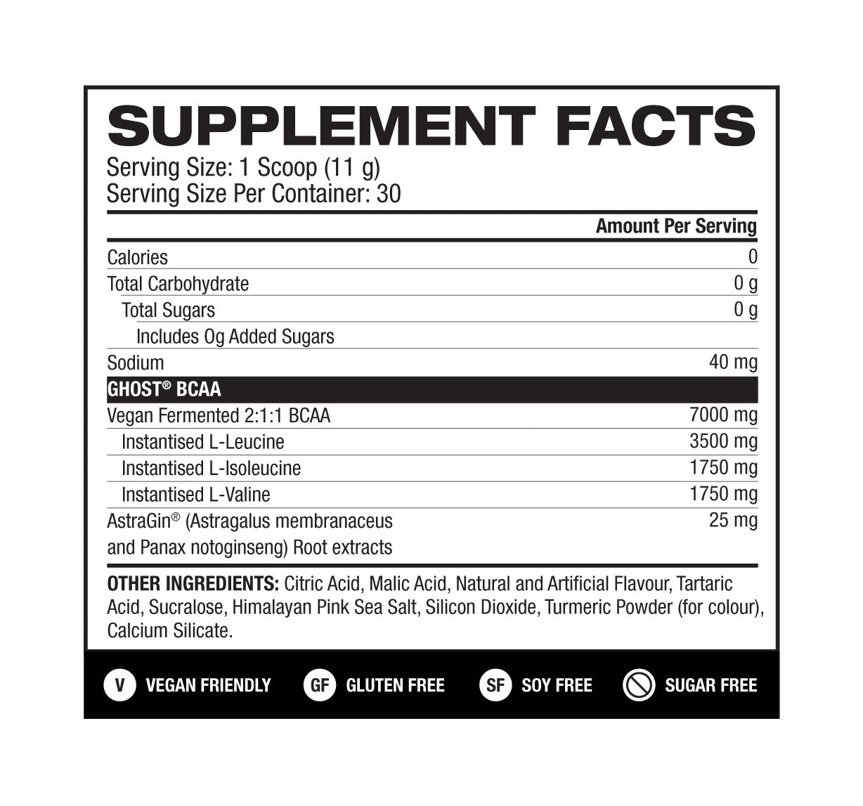 Nutrition Facts For Ghost Lifestyle BCAA V2