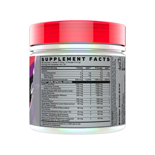 Nutrition Facts For Ghost Lifestyle Burn Black Thermogenic