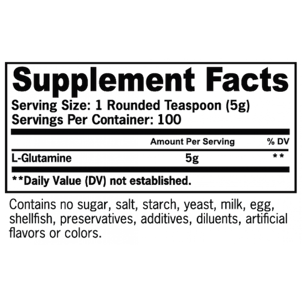 Nutrition Facts For EHP Labs Glutamine