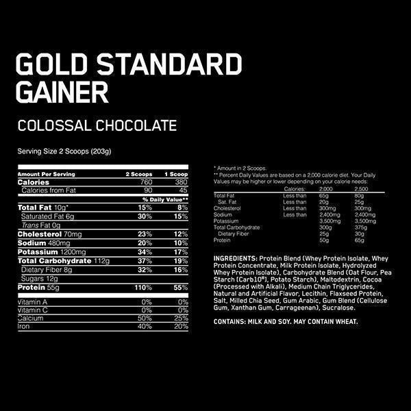 Nutrition Facts For Optimum Gold Standard Gainer 10lb