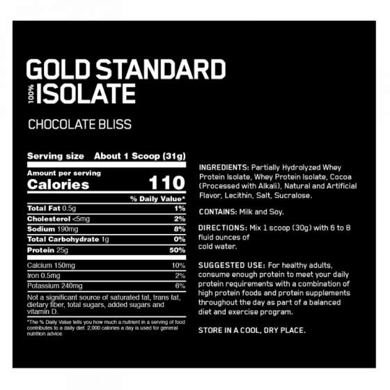 Nutrition Facts For Optimum Nutrition Gold Standard 100% Whey Isolate 5lb