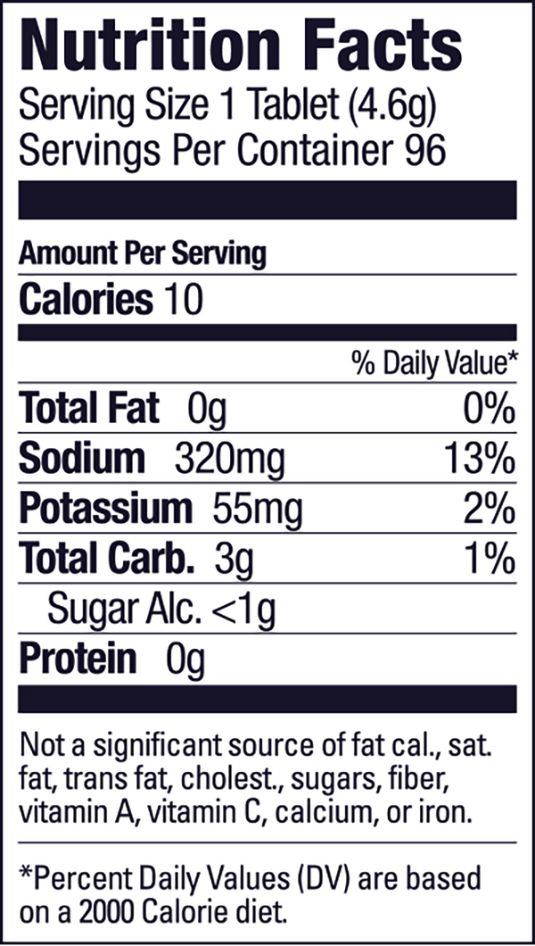 Nutrition Facts For GU Hydration Drink Tabs - Box of 8 Tubes
