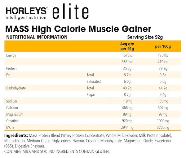 Nutrition Facts For Horleys Mass New Formula 1.3kg