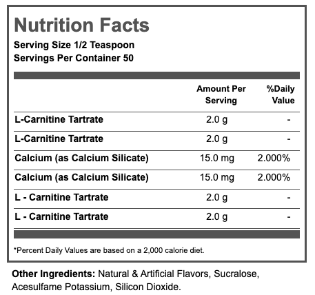 Nutrition Facts For Inner Armour Carnitine Powder 120g
