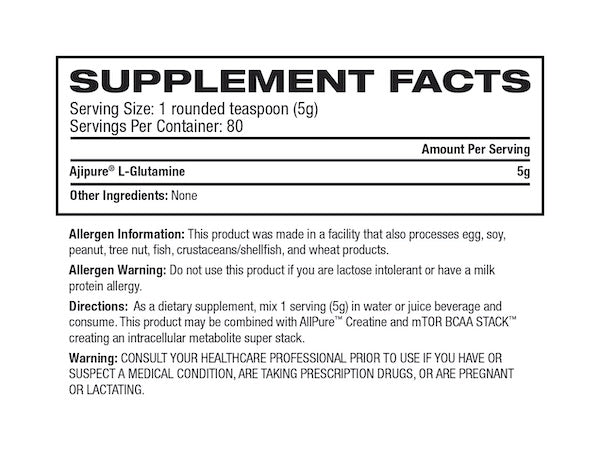 Nutrition Facts For Inner Armour Glutamine 1kg