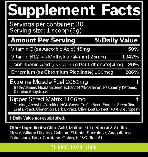 Nutrition Facts For JNX Sports The Ripper Fat Burner
