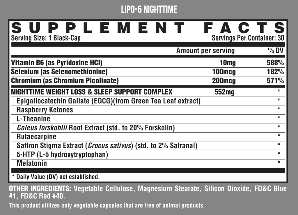 Nutrition Facts For Nutrex Lipo 6 Black Night Time