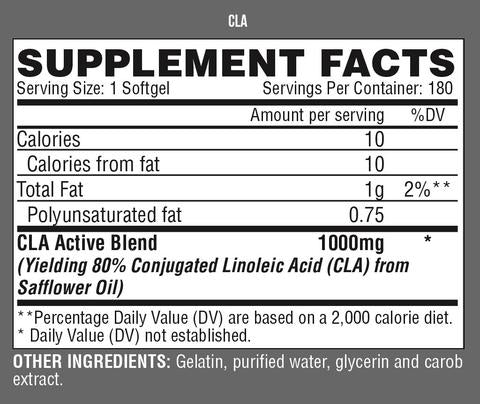 Nutrition Facts For Nutrex Lipo 6 CLA 180 Caps