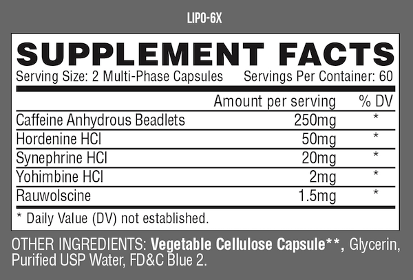 Nutrition Facts For Nutrex Lipo 6x