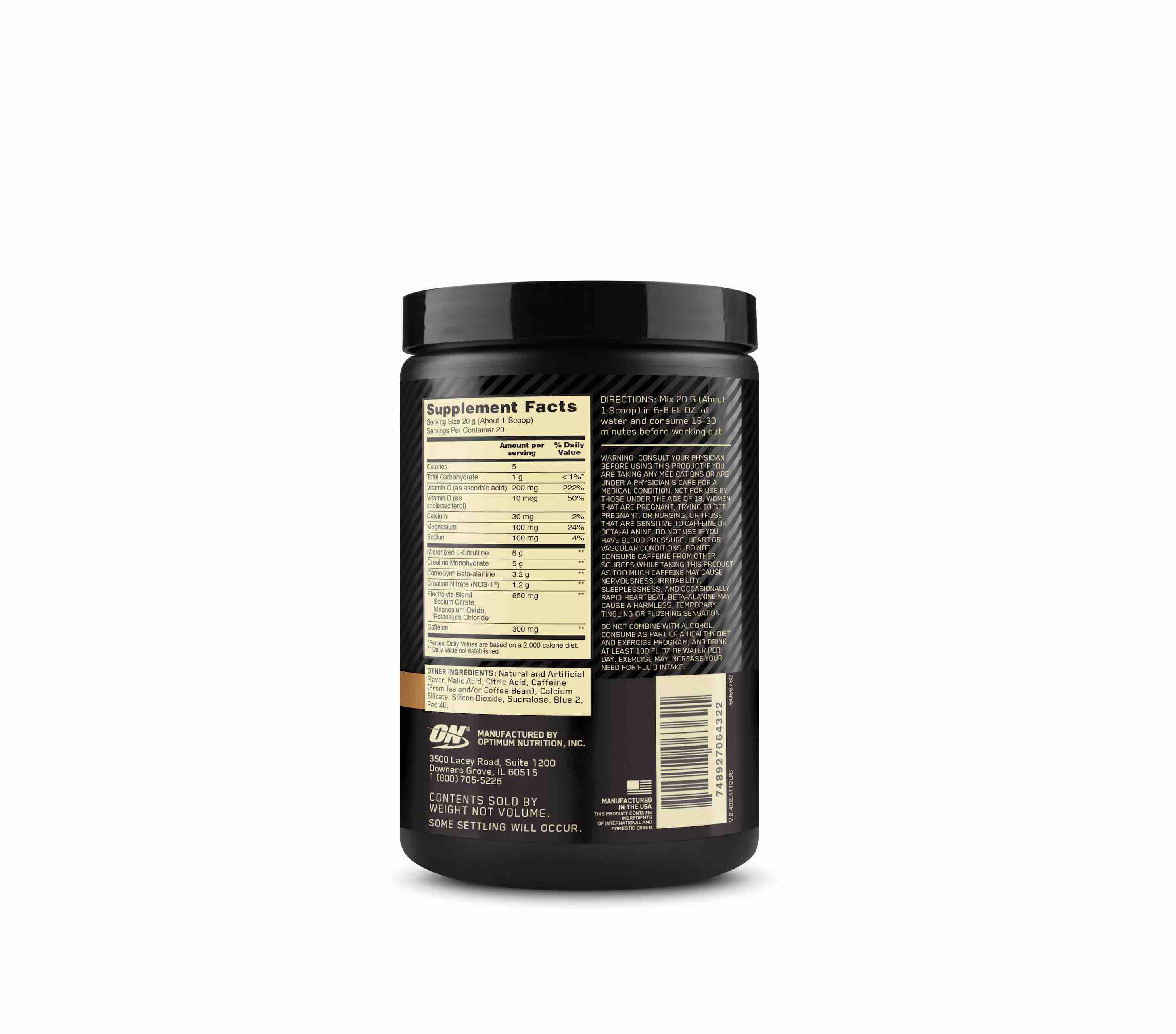 Nutrition Facts For Gold Standard Pre-Workout Advanced