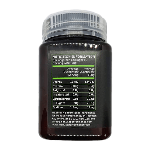Nutrition Facts For Manuka Performance Body Fuel 500g