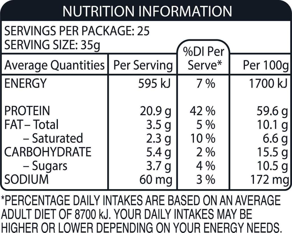 Nutrition Facts For Snickers Hi Protein Powder 875g