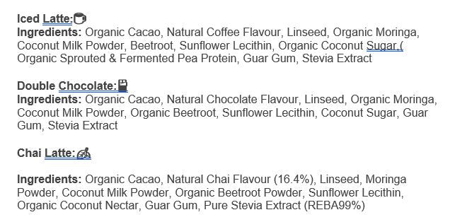 Nutrition Facts For Milky Mumma Smoothie