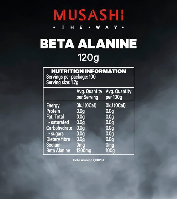 Nutrition Facts For Musashi Beta Alanine