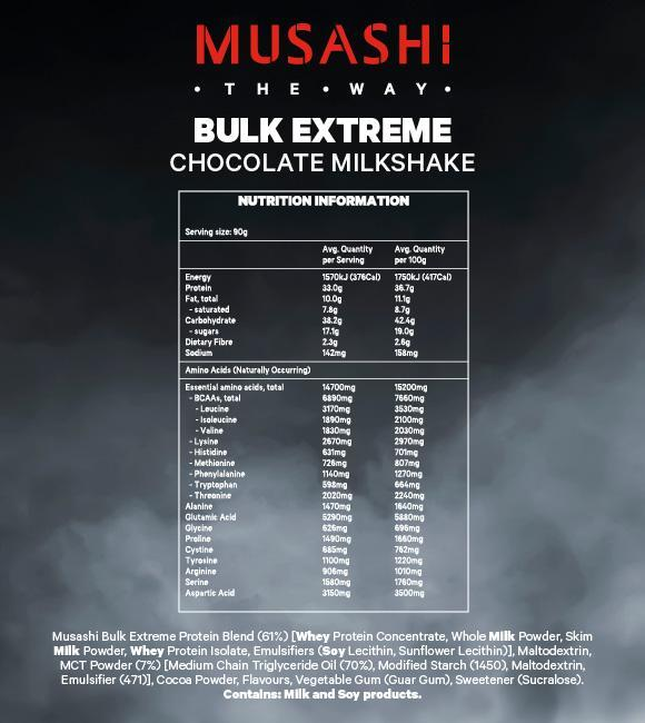 Nutrition Facts For Musashi Bulk Extreme 2kg