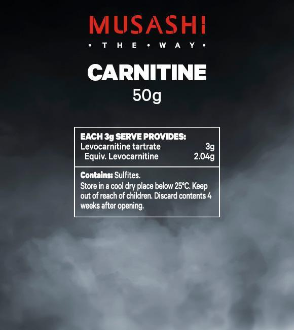 Nutrition Facts For Musashi Carnitine Powder