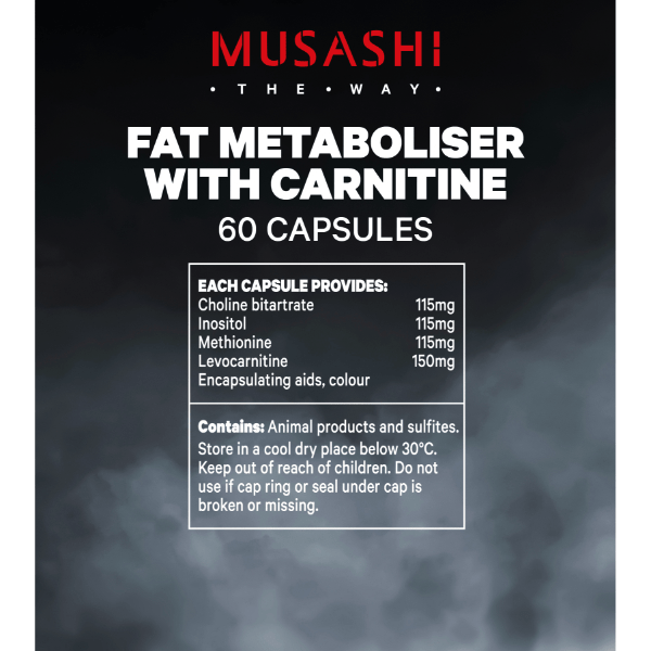 Nutrition Facts For Musashi Fat Metaboliser with Carnitine 60 caps