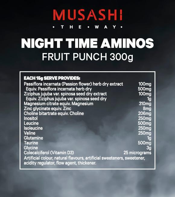 Nutrition Facts For Musashi Night Time Aminos