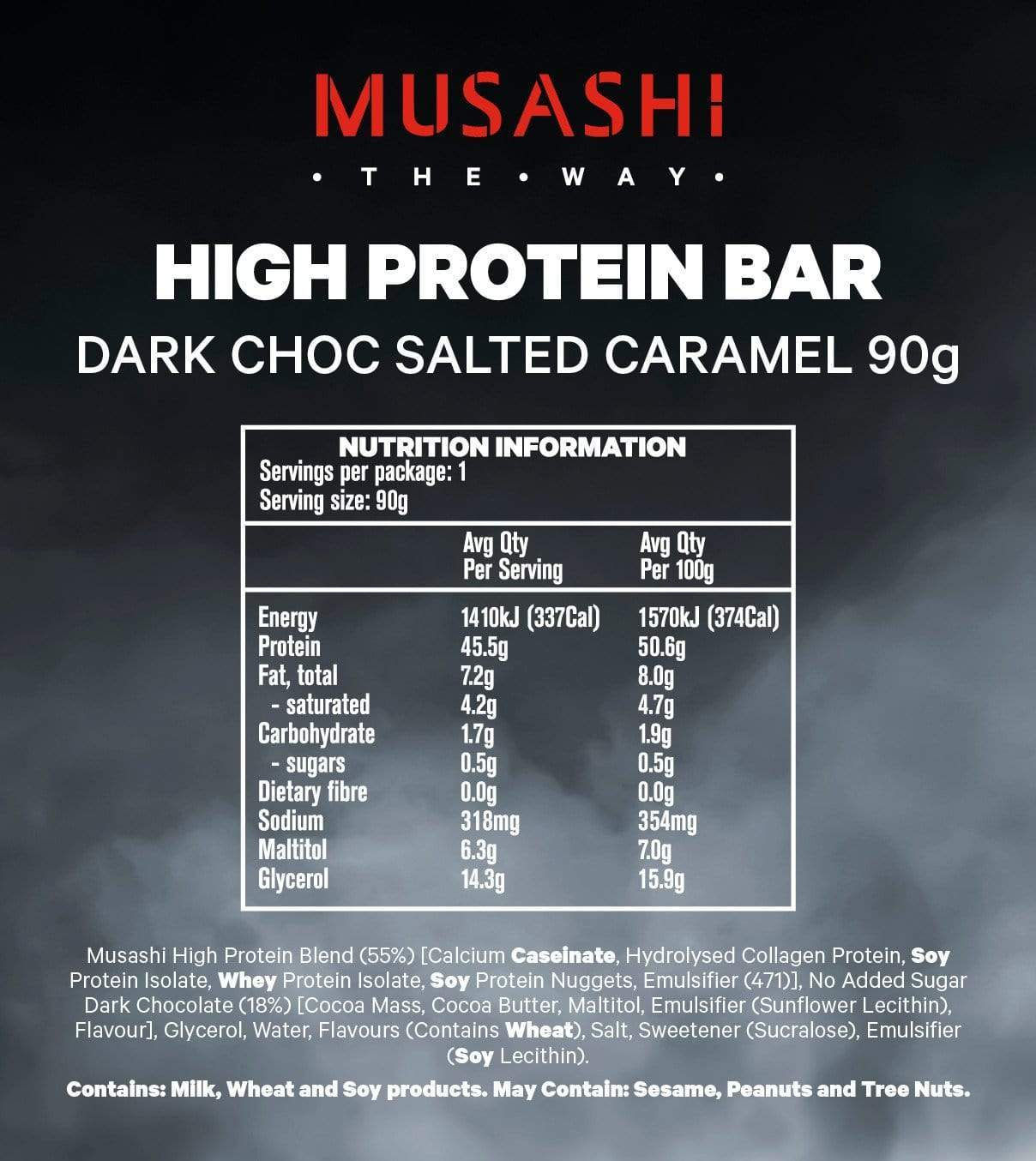 Nutrition Facts For Musashi P45 High Protein Bar 12 Box