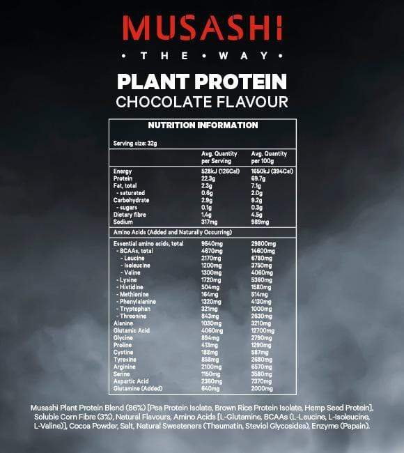 Nutrition Facts For Musashi Plant Protein 900g