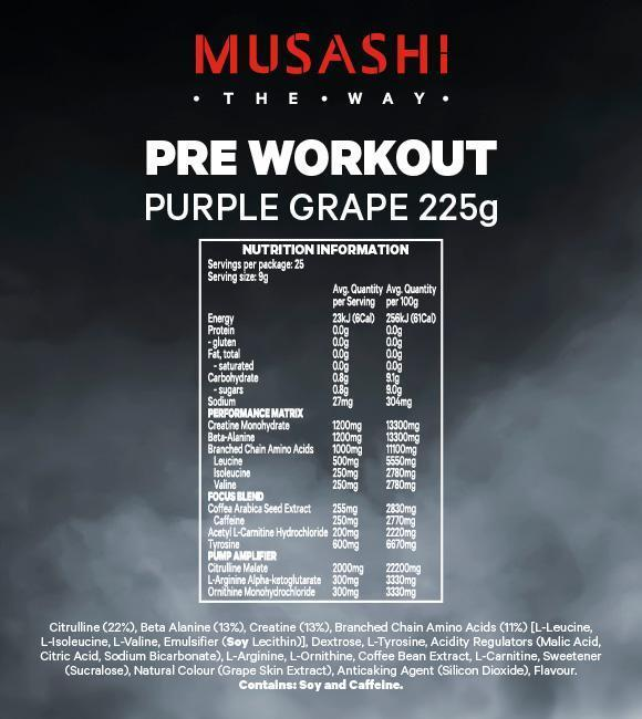 Nutrition Facts For Musashi Pre-Workout