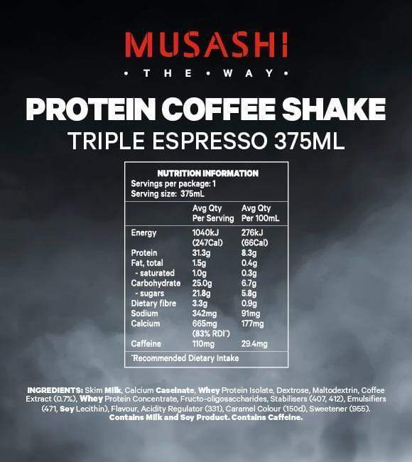 Nutrition Facts For Musashi Protein Coffee 375ml x1