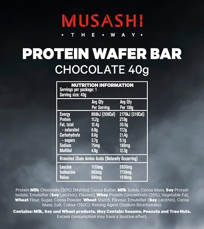 Nutrition Facts For Musashi Wafer Bars 12 Box