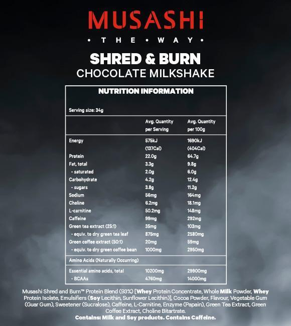 Nutrition Facts For Musashi Shred & Burn Protein 900g