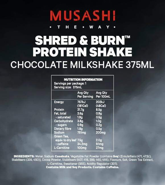 Nutrition Facts For Musashi Shred & Burn Shake 6x 375ml