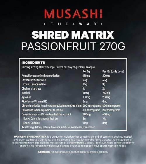 Nutrition Facts For Musashi Shred Matrix 30 Serves