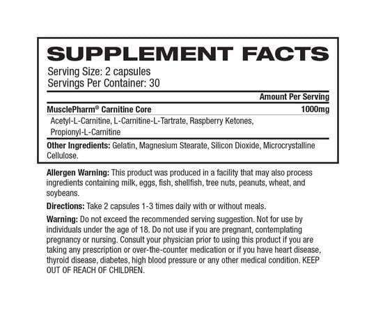 Nutrition Facts For MusclePharm Carnitine 60 Caps