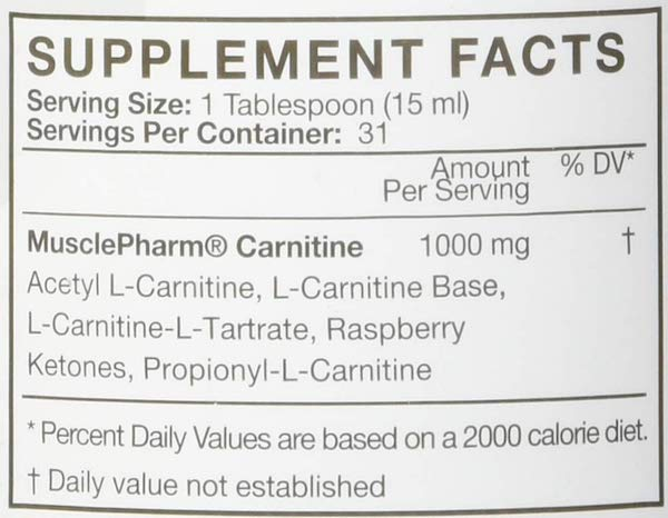Nutrition Facts For MusclePharm Carnitine Core Essentials 31 Serve