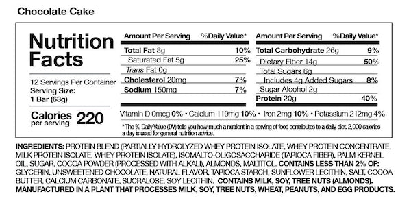 Nutrition Facts For MusclePharm Combat Crunch Bars Box - Choc Chip Cookie Dough