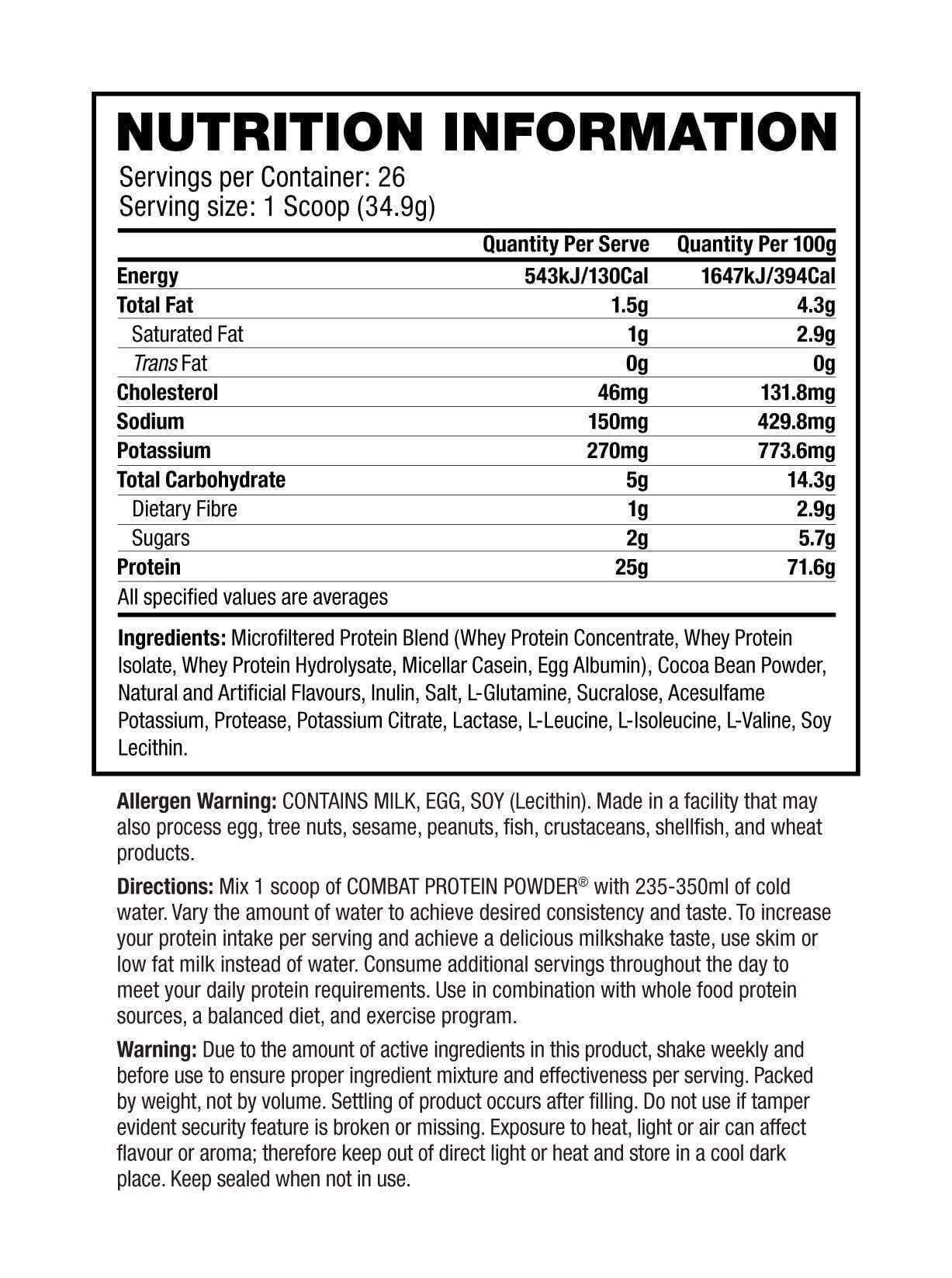 Nutrition Facts For MusclePharm Combat Protein 1.8kg