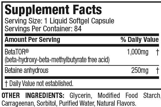 Nutrition Facts For Muscletech Clear Muscle Next Gen 84ct