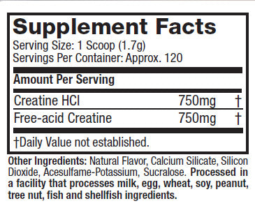 Nutrition Facts For Muscletech Creactor Creatine - Lemon/Lime Flavour