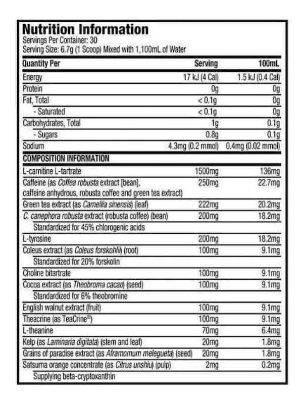 Nutrition Facts For Muscletech Hydroxycut Shred