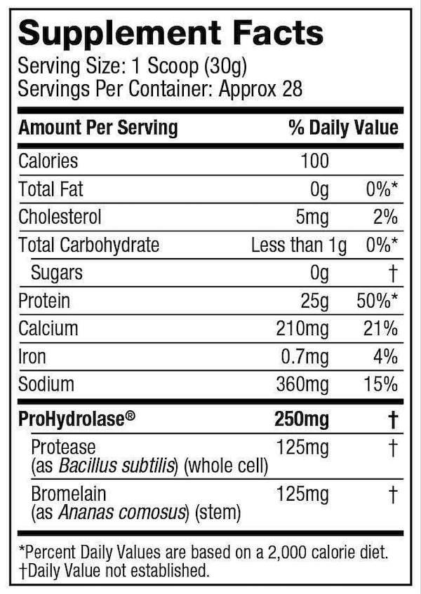 Nutrition Facts For Muscletech Nitro Tech 100% Iso Whey 1.8lb