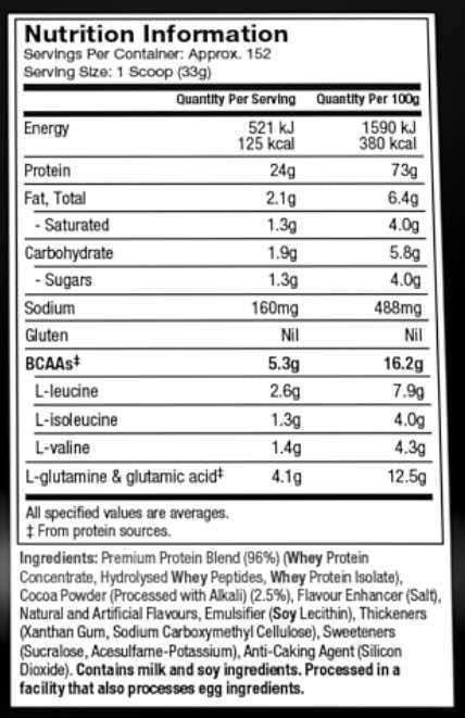 Nutrition Facts For Muscletech Nitro-Tech Whey Gold 11lb